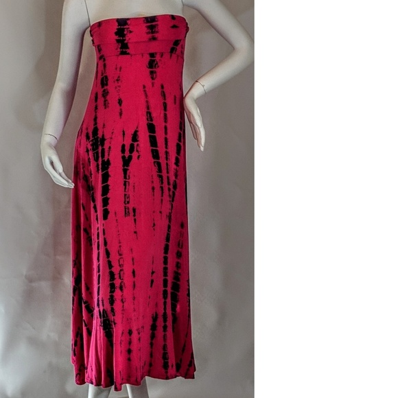 Love In Dresses & Skirts - Sexy Strapless Pink & Black Tie Dye Dress